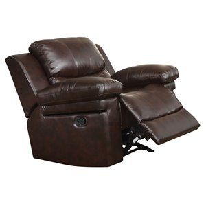 ACME Xenos Faux Leather Glider Recliner in Dark Brown