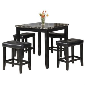 ACME Blythe 5 Piece Faux Marble Top Counter Height Dining Set in Black