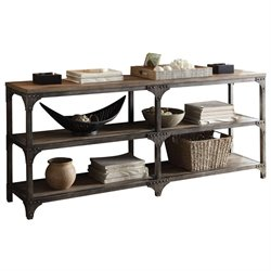 ACME Gorden Console Table in Weathered Oak and Antique Silver