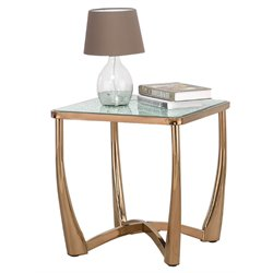 ACME Orlando Crackle Mirror Top End Table in Champagne