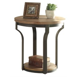 ACME Geoff Round End Table in Oak and Black