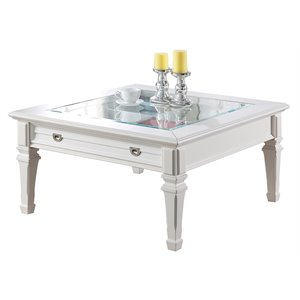 ACME Adalyn Square Glass Top Coffee Table in White