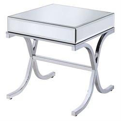 ACME Yuri Square Mirror Top End Table in Chrome