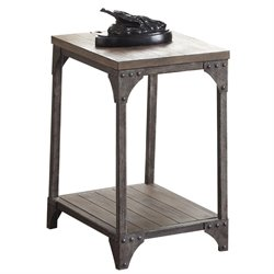 ACME Gorden End Table in Weathered Oak and Antique Silver