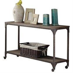ACME Gorden Console Table with Casters in Weathered Oak