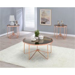 ACME Myron 3 Piece Mirror Top Coffee Table Set in Rose Copper