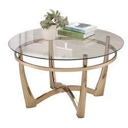 ACME Orlando II Round Glass Top Coffee Table in Champagne