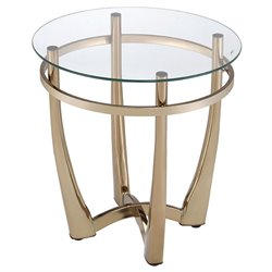 ACME Orlando II Round Glass Top End Table in Champagne