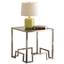 ACME Damien Square Glass Top End Table Champagne