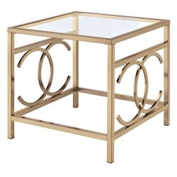 ACME Jaxson Square Glass Top End Table in Champagne
