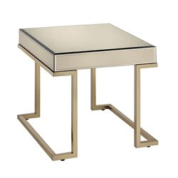 ACME Boice Square Mirror Top End Table in Champagne