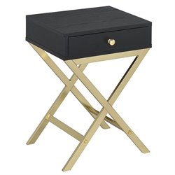 ACME Coleen End Table in Black and Brass