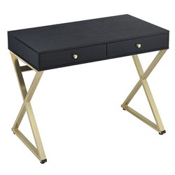 ACME Coleen Writing Desk in Black and Brass