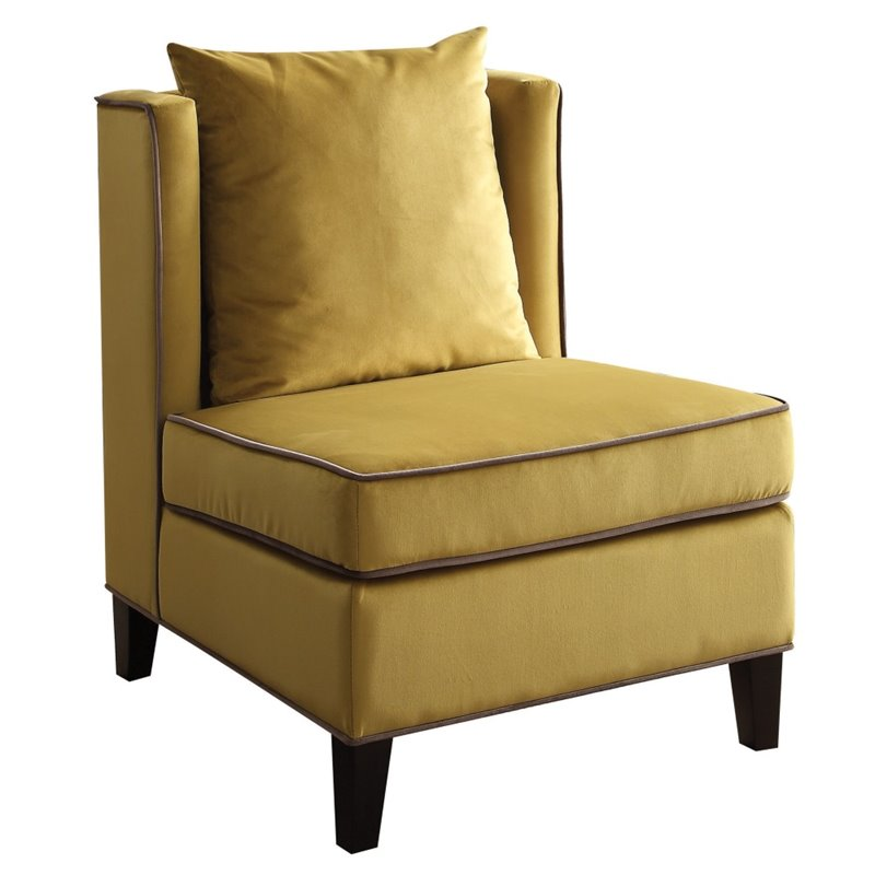 ACME Ozella Velvet Accent Chair In Yellow