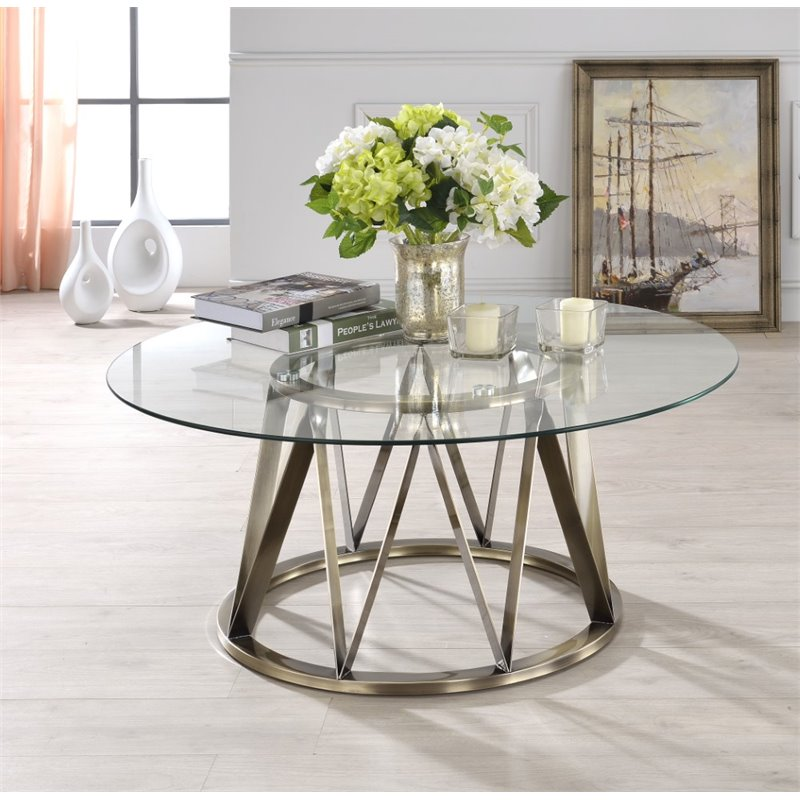 ACME Perjan Round Glass Top Coffee Table In Antique Brass
