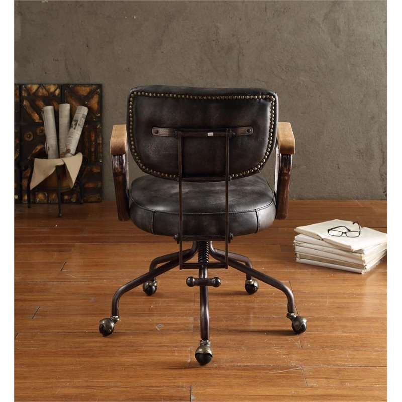 ACME Hallie Leather Swivel Office Chair In Vintage Black