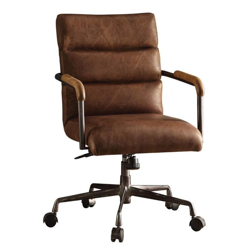Beau ACME Harith Leather Swivel Office Chair In Retro Brown