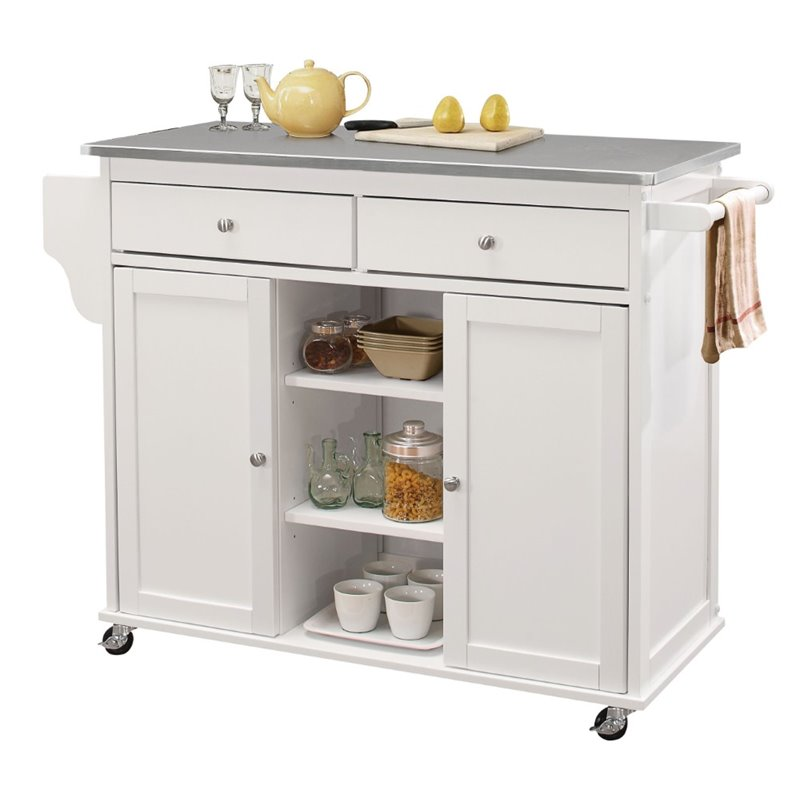 mobile islands for kitchens acme tullarick stainless steel top mobile kitchen island 7560