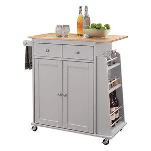 ACME Tullarick Kitchen Cart in Natural and Gray