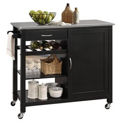 ACME Ottawa Stainless Steel Top Kitchen Island in Black