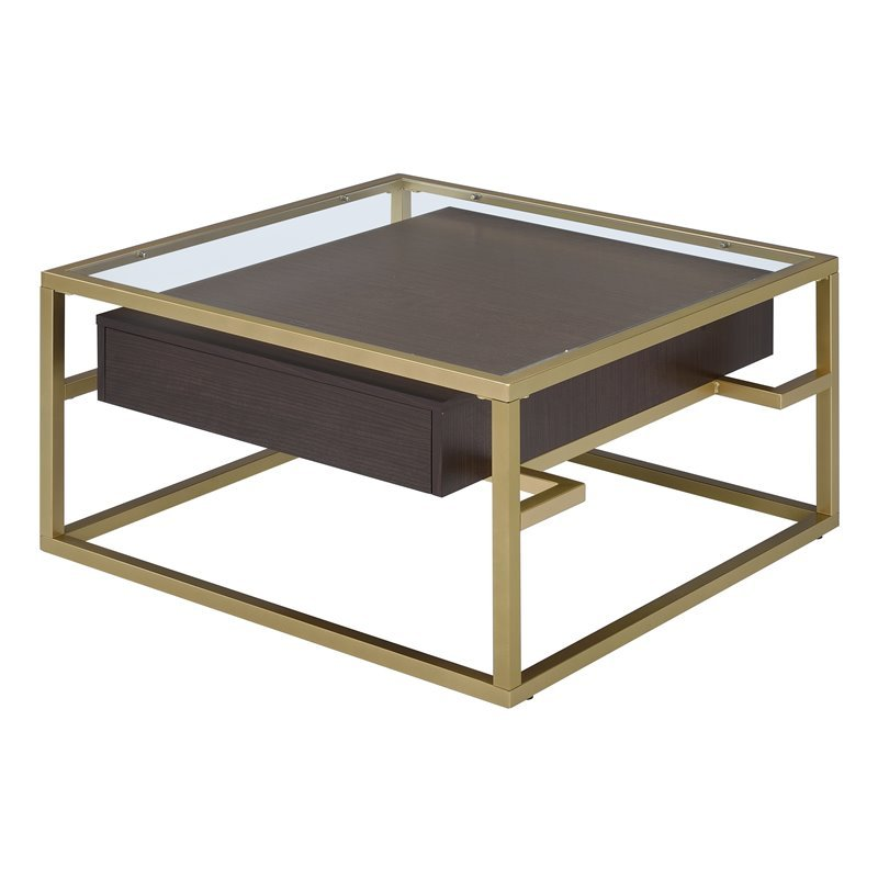 Acme Yumia Square Glass Top Coffee Table In Clear And Gold