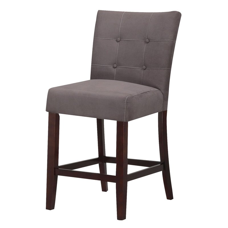 Acme Furniture Baldwin 24 Counter Stool In Gray And Walnut Set Of