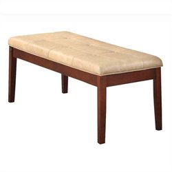 ACME Furniture Britney Bench in Cream and Walnut