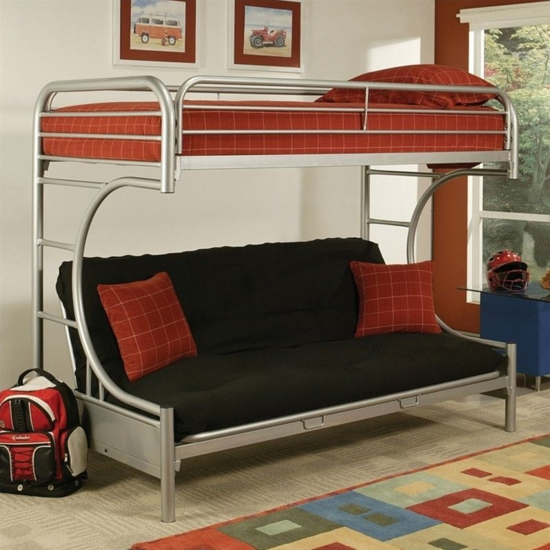 acme furniture eclipse bunk bed in silver 02091w si