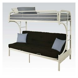 ACME Furniture Eclipse Metal Twin Over Futon Bunk Bed in White