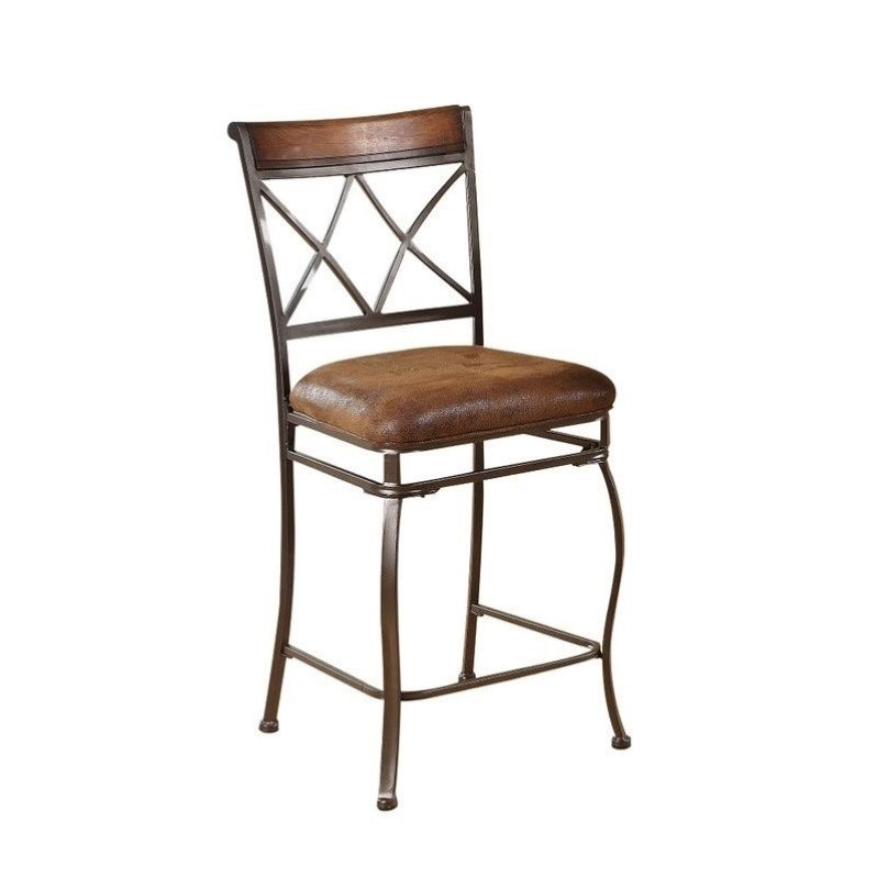 Acme Furniture Tavio 24 Quot Counter Stool In Black Gold Brush