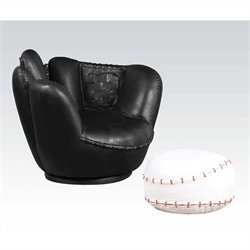 ACME All Star Swivel Kids Chair with Ottoman in Black and White