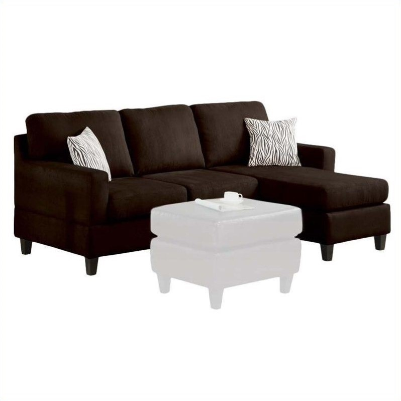 Acme Furniture Vogue Reversible Chaise Sectional In Chocolate 05907a