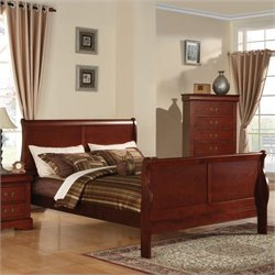 ACME Furniture Louis Philippe III Sleigh Panel Bed in Cherry