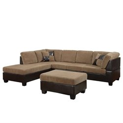 ACME Furniture Connell 2 Piece Faux Leather Sectional Sofa in Brown