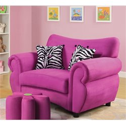ACME Furniture Lucy Youth Chair with Ottoman in Pink