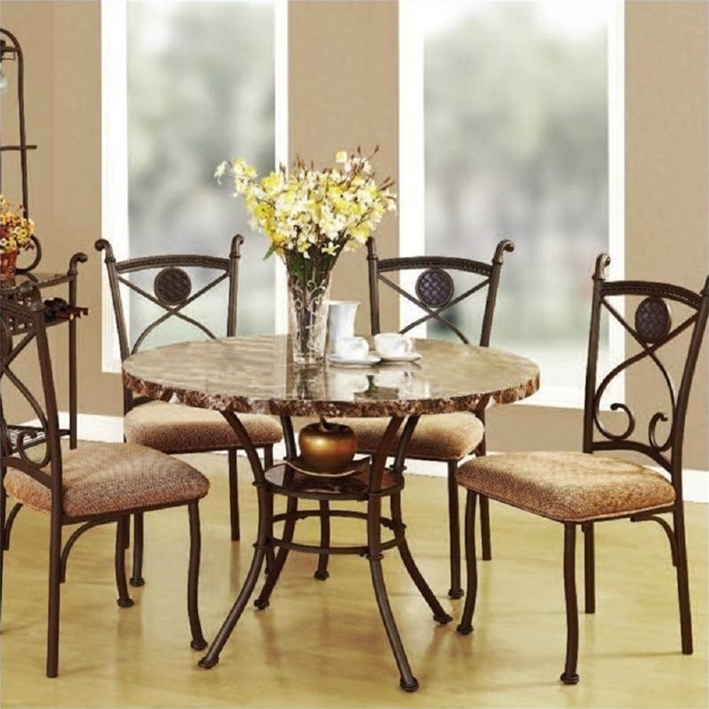 ACME Furniture Kleef 5 Piece Dining Set in Brown & ACME Furniture Kleef 5 Piece Dining Set in Brown - 70555-70556-KIT