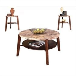 ACME Furniture Nadav 3 Piece Round Marble Top Table Set
