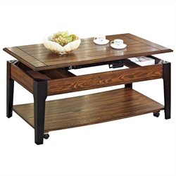 ACME Furniture Magus Lift Top  Coffee Table in Brown Oak and Black