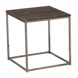 ACME Furniture Cecil End Table in Walnut and Brushed Nickel