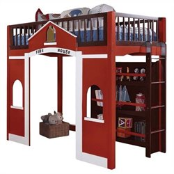 ACME Furniture Fola Loft Front House Bed in Red and Espresso