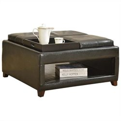 ACME Furniture Gosse Faux Leather Oversized Ottoman in Dark Brown