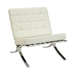 ACME Elian Button Faux Leather Accent Chair in Ivory