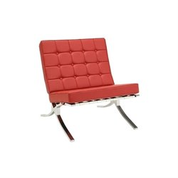ACME Elian Button Faux Leather Accent Chair in Red
