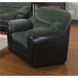 ACME Connell Corduroy Accent Chair in Olive Gray and Espresso