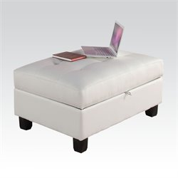 Acme Kiva  Bonded Leather Match Ottoman with Storage in White