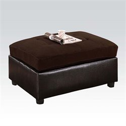 ACME Furniture Milano Faux Leather Ottoman in Chocolate