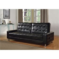 ACME Furniture Naeva Faux Leather Convertible Sofa in Black