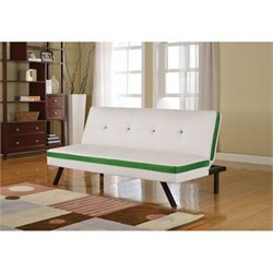 ACME Furniture Penly Faux Leather Convertible Sofa in White and Green