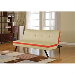 ACME Furniture Penly Faux Leather Convertible Sofa in Cream and Red