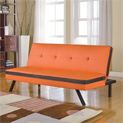 ACME Furniture Penly Faux Leather Convertible Sofa in Orange and Black